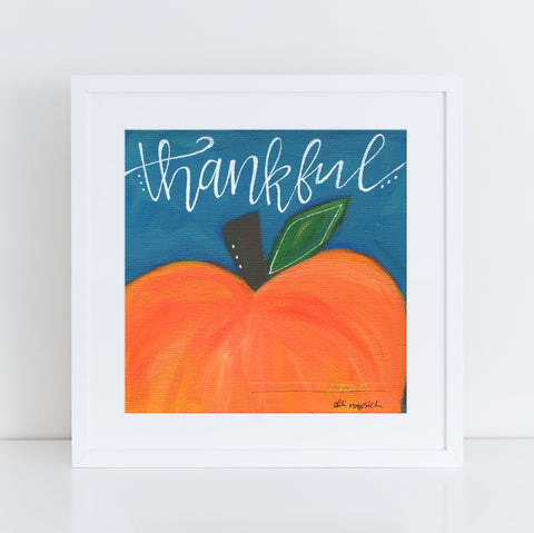 "Art print: ""Thankful"" Navy & Orange Pumpkin"