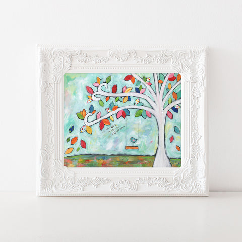 Flower tree swing art print