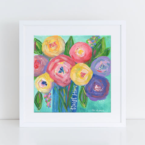 "Art print: ""Trust"" Aqua Blue multi colored floral bouquet"