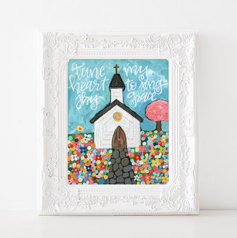 Tune My Heart to Sing Thy Grace Church Art Print
