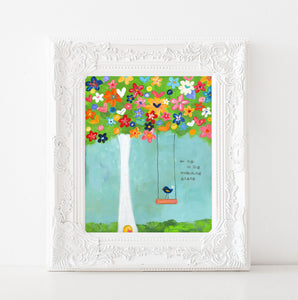 Whimsical Tree Swing Art Print
