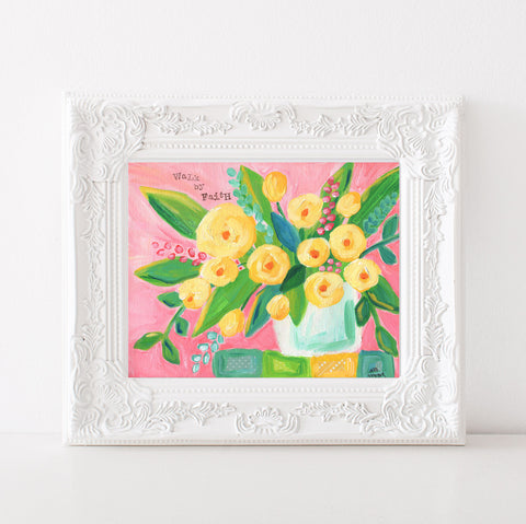 Art print: Walk By Faith Floral Painting