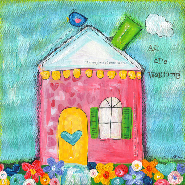 Welcome House Art Print. Original Whimsical House painting.