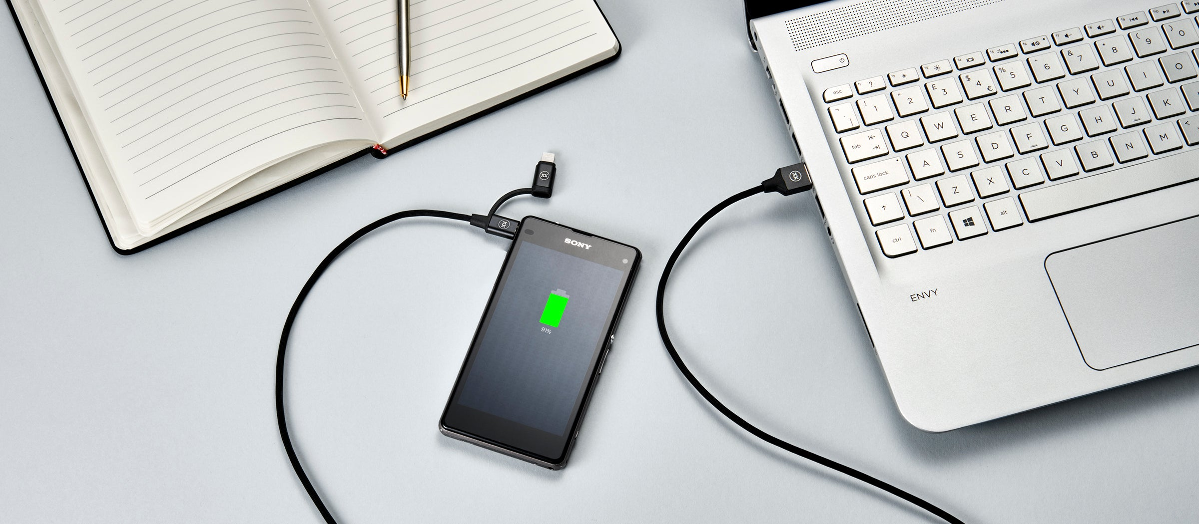 2 in 1 sync and charge micro usb and lightning cable