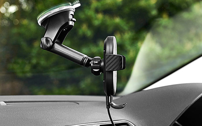 DashCharge long arm wireless car mount adjustable view