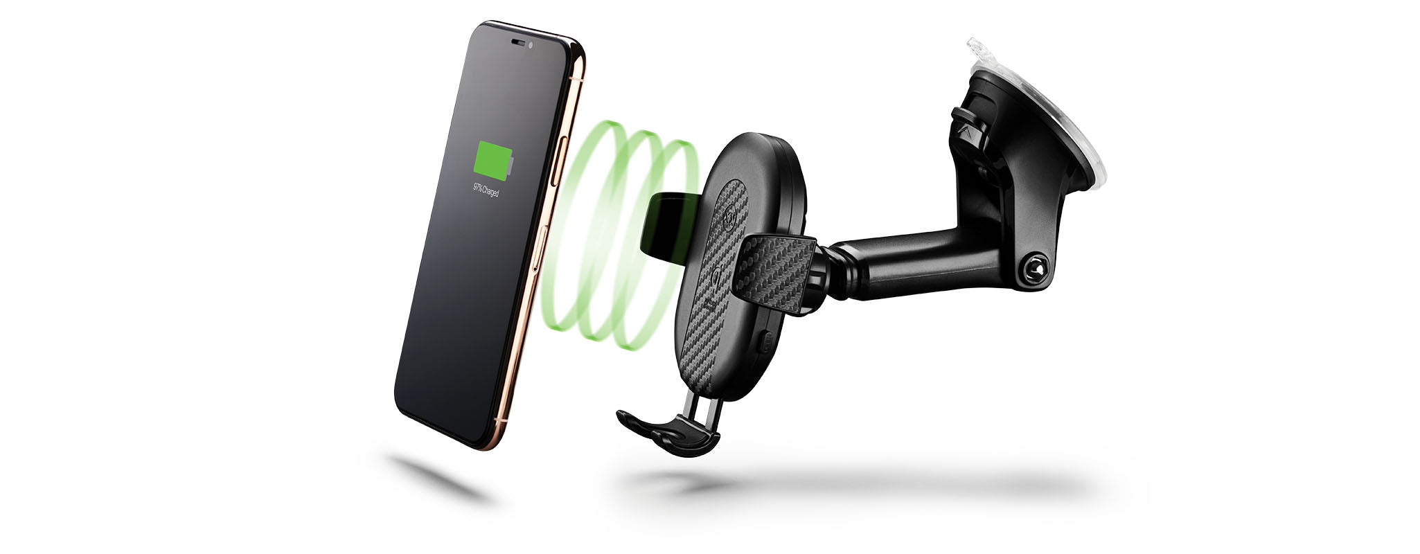 DashCharge long arm wireless car mount for iPhone XS