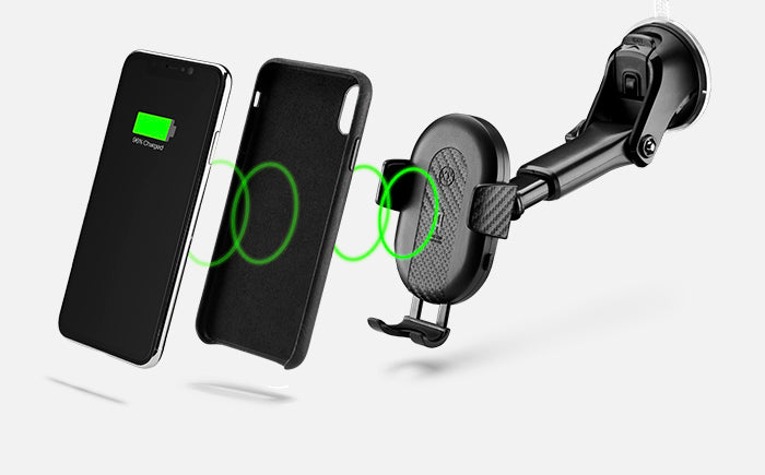 DashCharge long arm wireless car mount works with a phone case