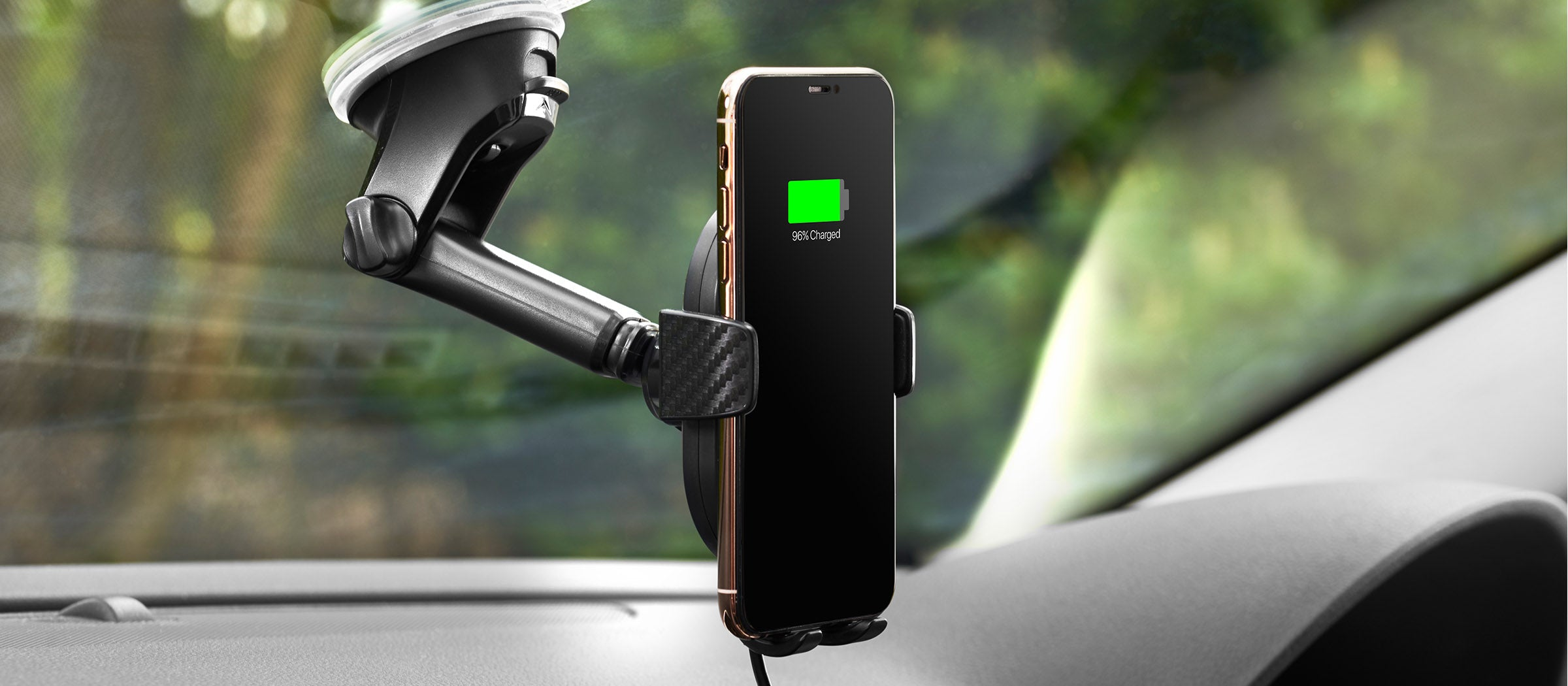 DashCharge long arm wireless car mount