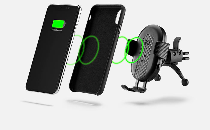 DashCharge wireless car mount works with a phone case