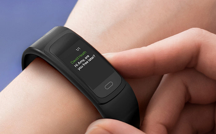 F1 fitness tracker with SMS notifications