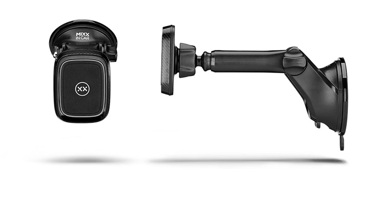 Magnetic long arm car mount front and side views