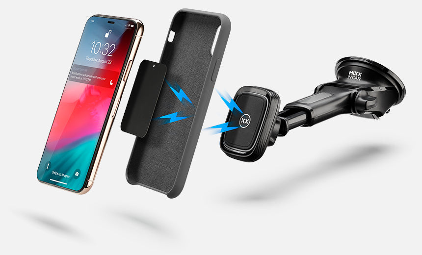 Magnetic car mount works with a phone case