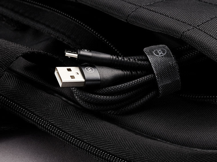 Travel cable with velcro strap