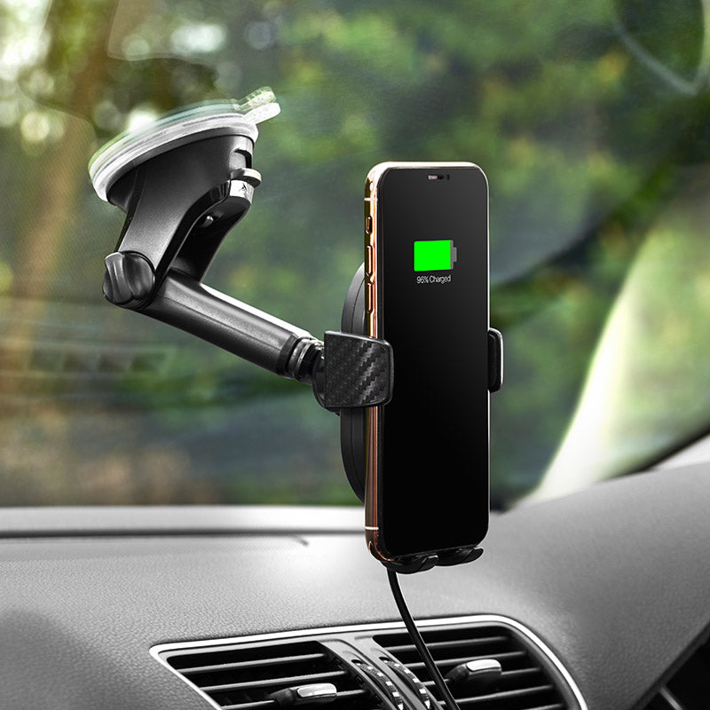 Wireless charging windshield mount
