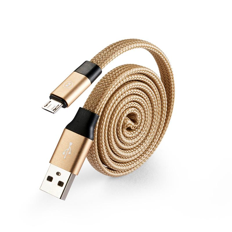 Self coil USB charging cable for micro USB in gold angle view
