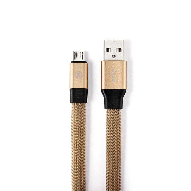 Self coil USB charging cable for micro USB connector in gold