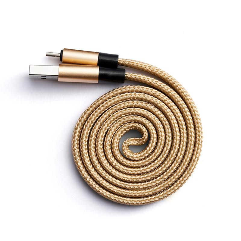 Self coil USB charging cable for micro USB in gold