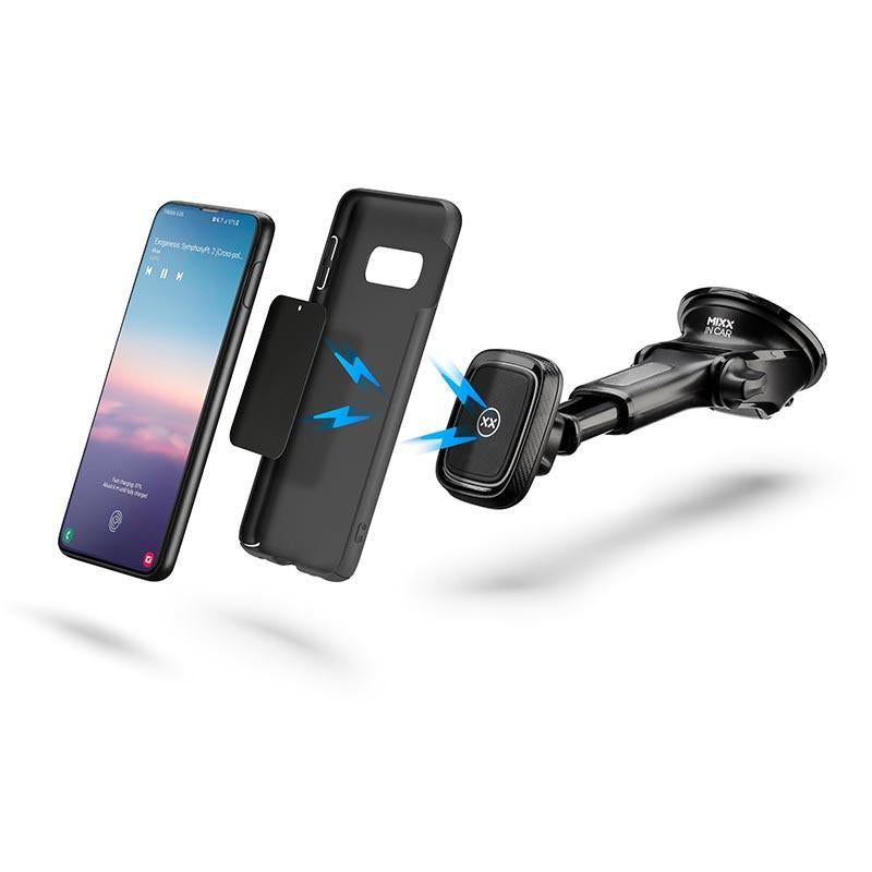 Magnetic long arm car mount for Samsung phones and case