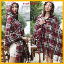Load image into Gallery viewer, Hooded Plaid Poncho