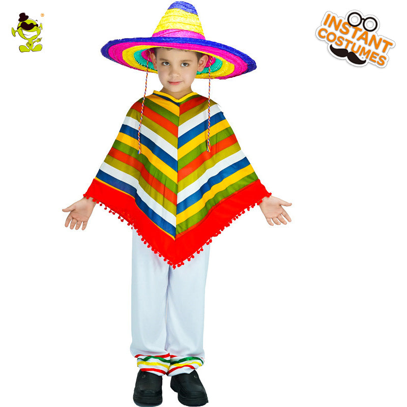 Kids Mexican Rainbow Poncho
