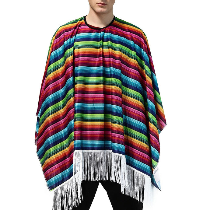 Overized Multi-Colouredl Striped Mexican Cloak