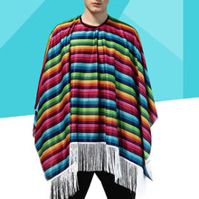 Load image into Gallery viewer, Overized Multi-Colouredl Striped Mexican Cloak