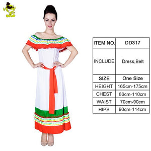 Rainbow Summer Dress Mexican Costume For Women