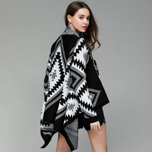 Knitted Vintage Aztec Poncho