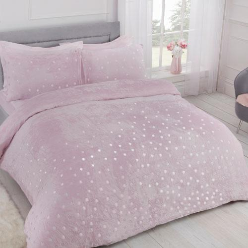 Cosy Fleece Foil Dot Duvet Set