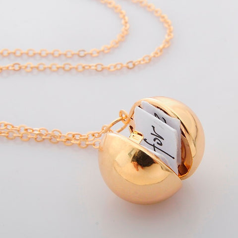 Secret Message Ball Locket Propose Necklace