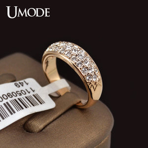 UMODE Classic Rose Gold Color Rhinestones Studded Engagement / Wedding Finger Rings