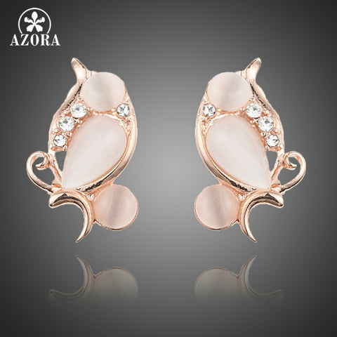 AZORA's Lovebirds Rose Gold Color Stellux Austrian Crystal Clip Earrings