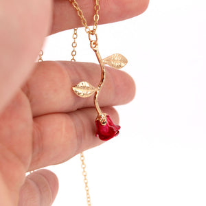 hzew's Lucky Girl Red Rose Pendant Necklace