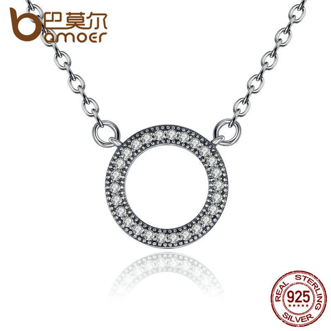 Round Shape CZ Pendant Necklace - 925 Sterling Silver