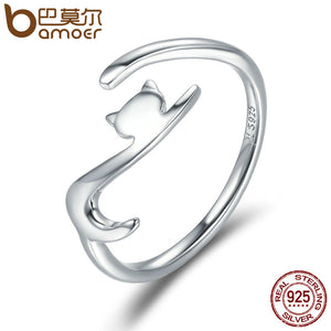 Sticky Cat with Long Tail Finger Ring - 925 Sterling Silver