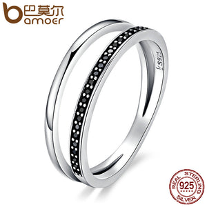Double Circle Black Clear CZ Stackable Finger Ring - 925 Sterling Silver