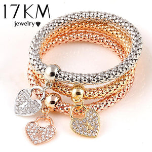 Gold Color Heart Charm Elastic Bracelets For Women - 3 Pcs.