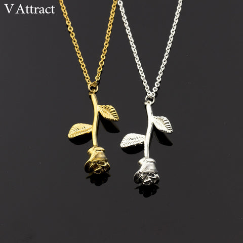 V Attract Propose Rose Flower  Necklace