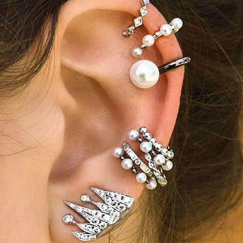 Boho Ear Cuff Brincos Simulated Pearl Ear Clip Earrings Set 9Pcs.