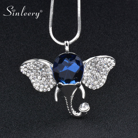 SINLEERY Lucky Elephant Pendant Necklace