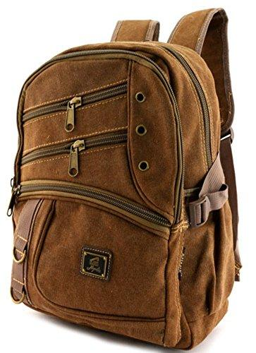 Canvas Backpack Coffee Brown Vintage Style Rucksack School Bag Travell Well Bags Mochila Sac a dos Escolares - Travell Well