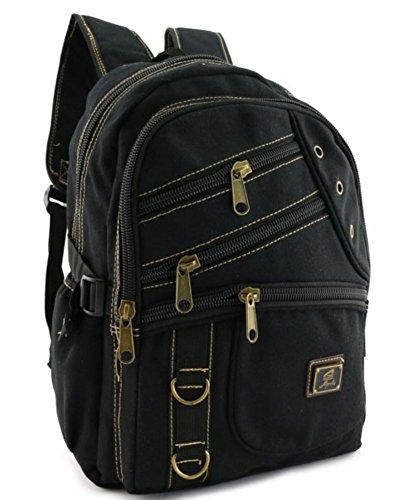 "Canvas Backpack Vintage Black Rucksack 12 "" inch School Bag Mochila Travell Well Bags Designer Sac a dos - Travell Well"