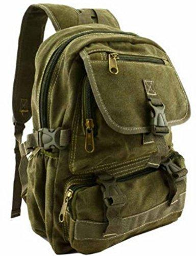 Vintage Canvas Backpack Rucksack Military Green Style School Bag Medium 13 inch Mochila Travell Well Bags Sac a dos - Travell Well