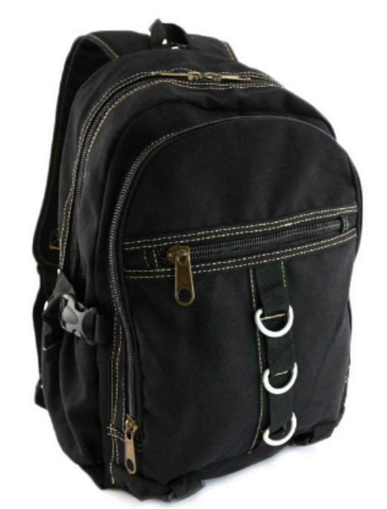 Designer Black Canvas Backpack Vintage Rustic Rucksack Military Casual Small 12 Medium 13 School Travell Well Bags - Travell Well
