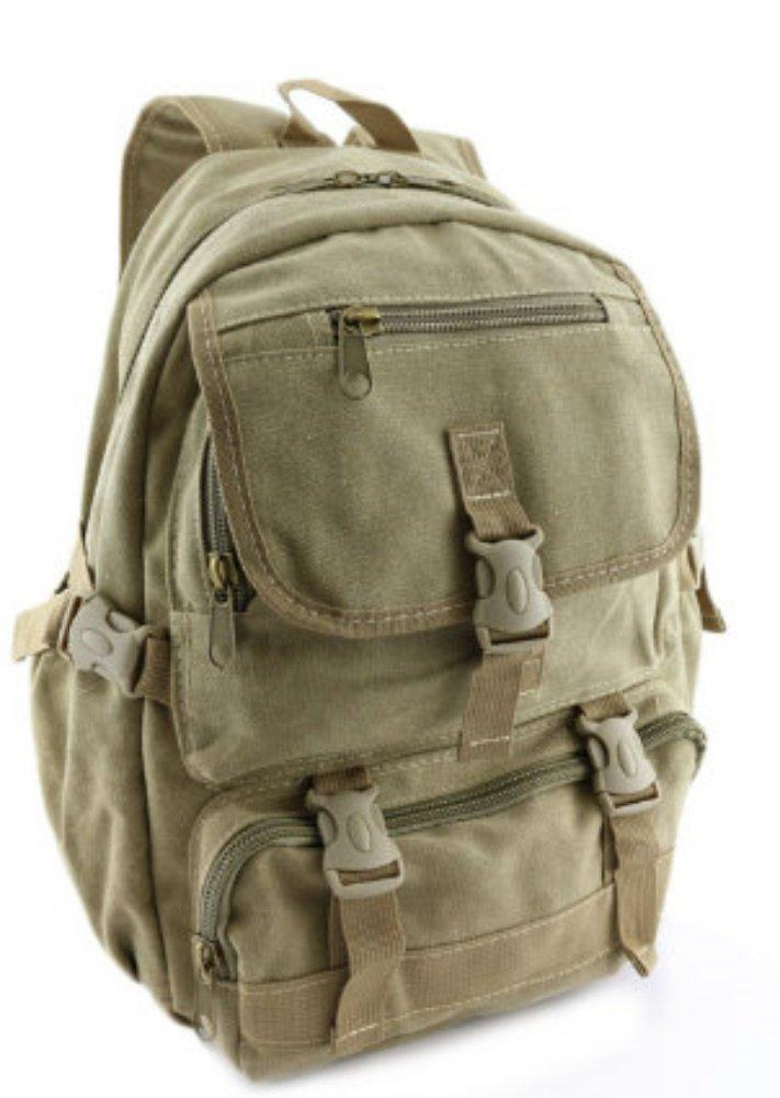 Tan Canvas Backpack Vintage Rucksack School Khaki Travell Well Bags Mochila Sac a dos Backpacks - Travell Well
