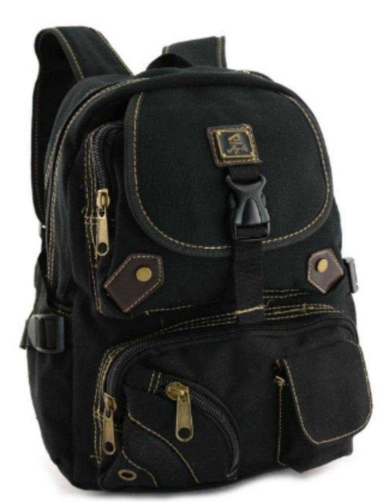Designer Black Canvas Backpack Vintage Rucksack Casual School Laptop Everyday Travell Well Bags Sac a Dos Mochila - Travell Well
