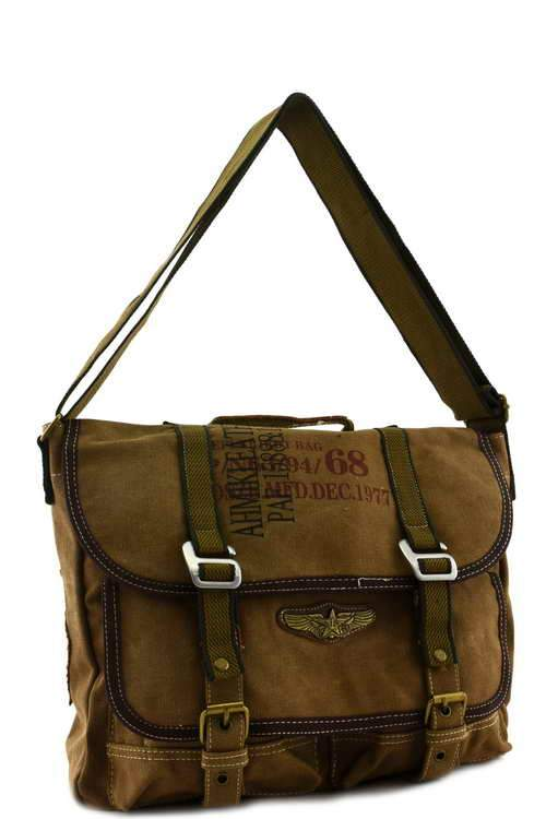 Canvas Military Bags Vintage Style Army Cross Shoulder Messenger Bag Classic Distressed Canvas in Green Brown Khaki Black Travell Well Bags - Travell Well