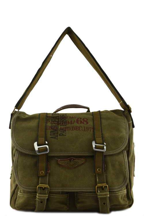 Canvas Military Bags Vintage Style Army Cross Shoulder Messenger Bag Classic Distressed Canvas in Black Green Coffee Khaki Travell Well Bags - Travell Well