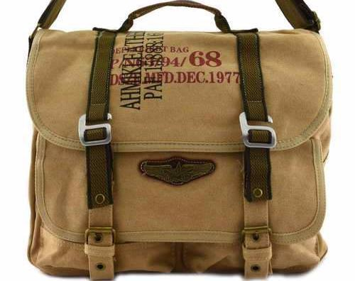 Canvas Military Bags Vintage Style Army Cross Shoulder Messenger Bag Classic Distressed Canvas in Brown Khaki Black Green Travell Well Bags - Travell Well