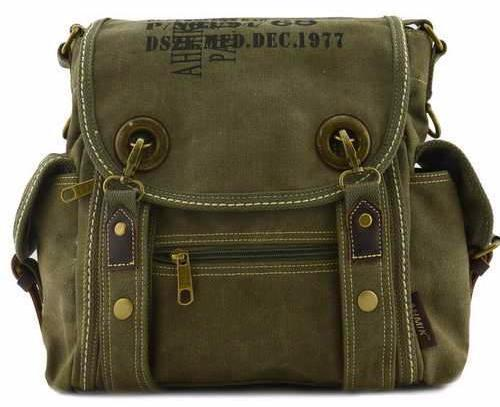 Canvas Vintage Handbag Army Cross Shoulder Messenger Bag Military Style Bags in Black Green Khaki Travell Well Bags - Travell Well